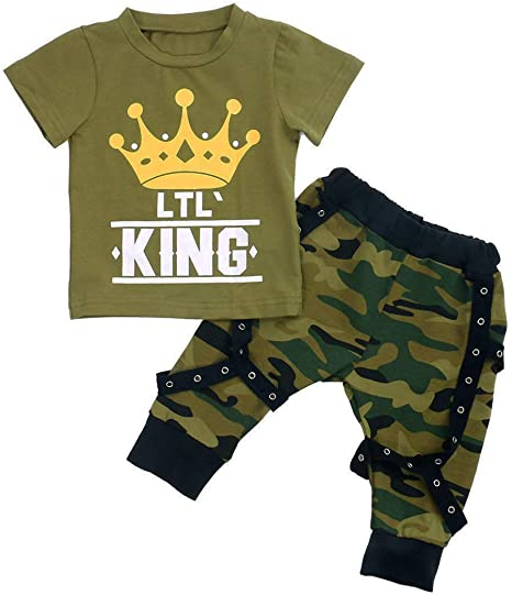 Toddler Baby Boy Girl Camo Pants Clothes Short Sleeve Letter Printed Tee T-Shirt 2pcs Camouflage Outfits Set