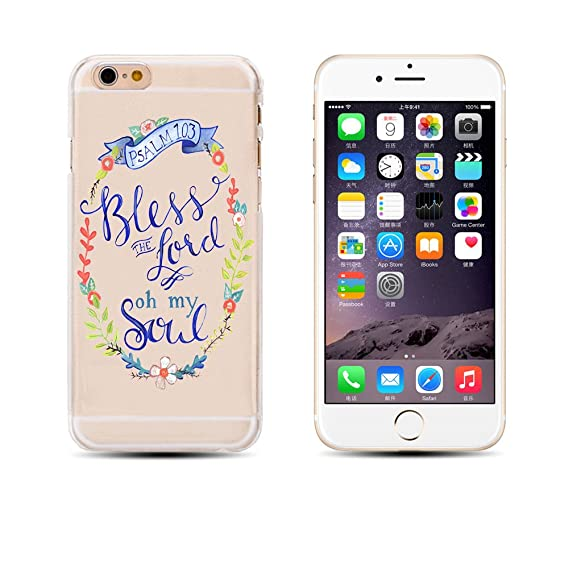 detailed pictures 39fc0 31307 iPhone 6 / 6S , Holy Bible Verses Biblical Quotes of God's Words Protective  Ultra Slim Translucent Silicone Clear Case Gel Cover (Bless The Lord Oh My  ...