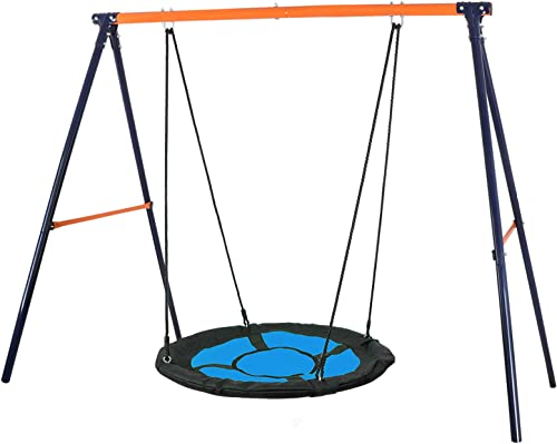SUPER DEAL Swing Set, 40 Kids Web Tree Swing Saucer Swing 72 All-Steel All Weather Stand Combo Blue, XXL