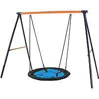 "SUPER DEAL Swing Set, 40"" Kids Web Tree Swing Saucer Swing + 72"" All-Steel All Weather Stand Combo (Blue, XXL)"