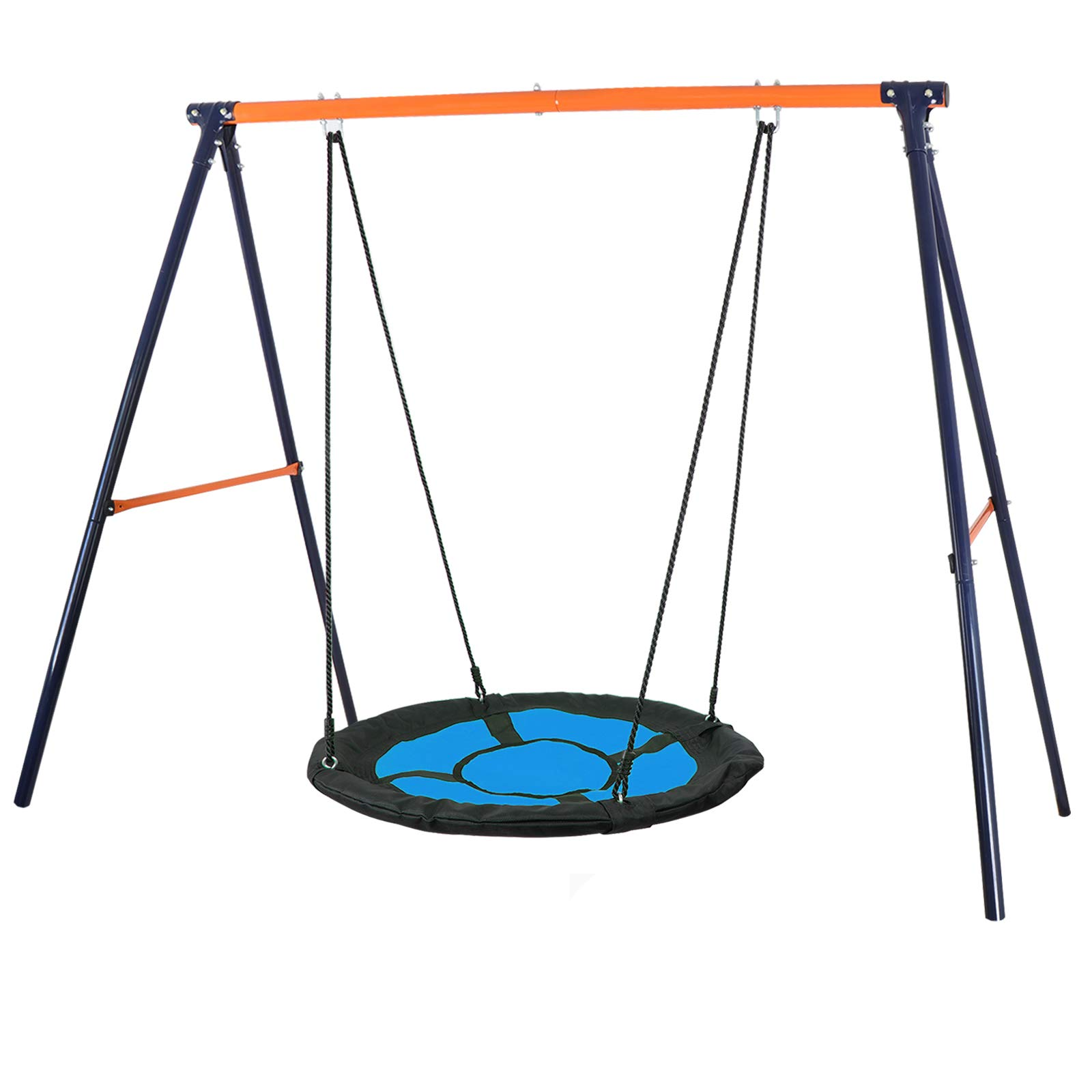 SUPER DEAL Swing Set, 40'' Kids Web Tree Swing Saucer Swing + 72'' All-Steel All Weather Stand Combo (Blue, XXL)