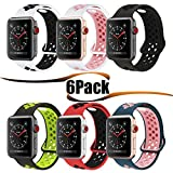 #5: HILIMNY Hailan Sports Apple Watch Band,Soft Silicone Sport Band Replacement Wrist Strap for Apple iwatch Series 1/2/3,Nike+,Sport,Edition,38mm,42mm,S/M,M/L size