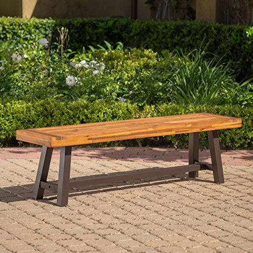 GDF Studio 300496 Colonial Outdoor Sandblack Finish Acacia Wood and Rustic Metal Bench, brown Acacia Outdoor Furniture