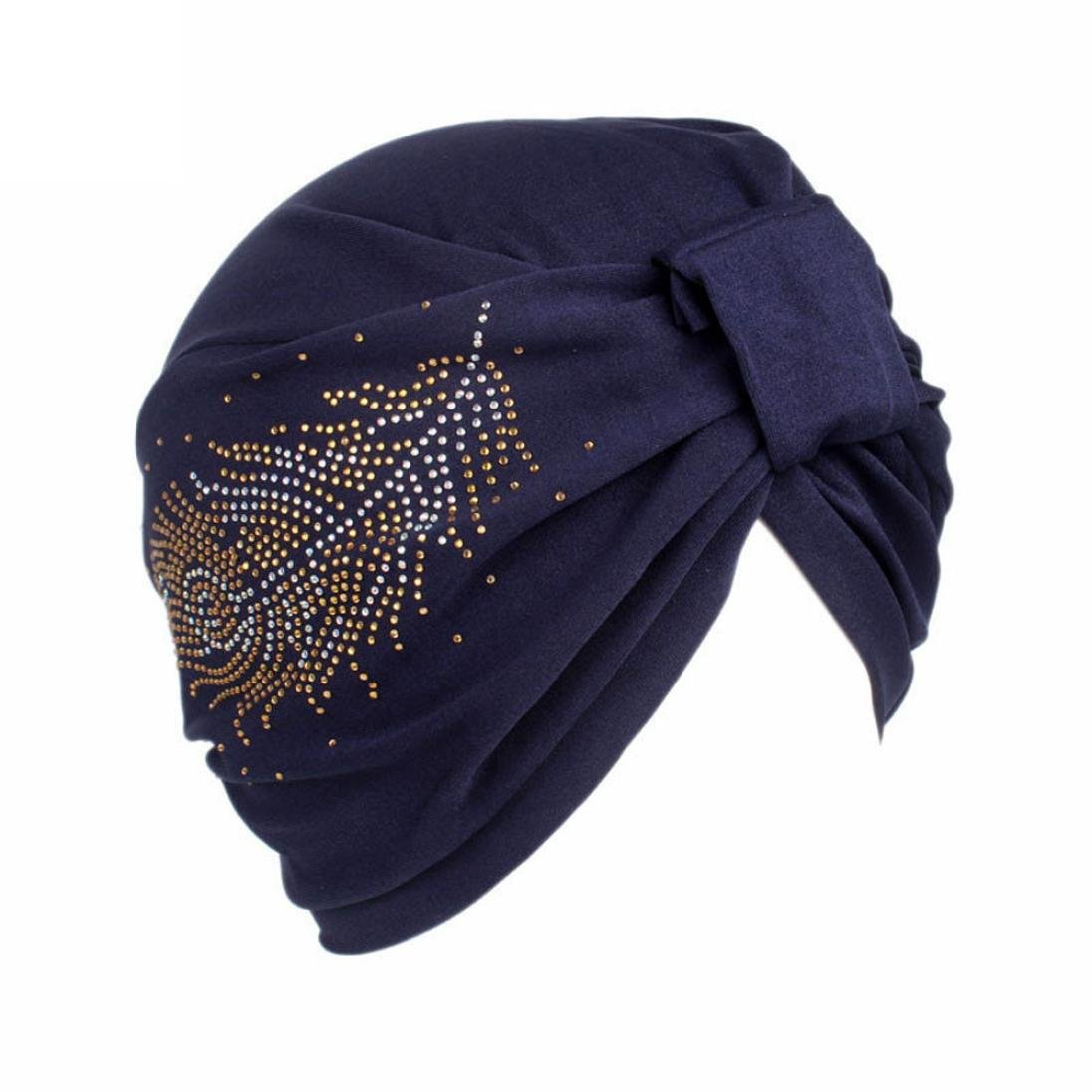 Compia Women Hijab Ladies Boho Feather Hot Drilling Hat Beanie Head Wrap Cap