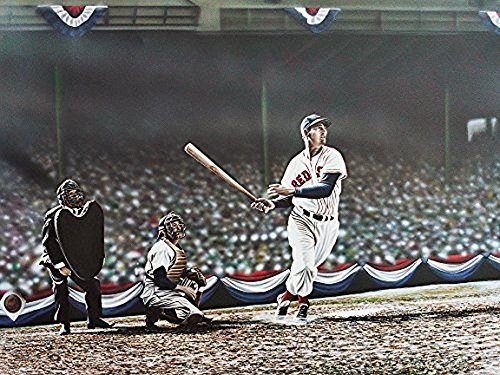 Buyartforless Canvas Ted Williams Swing by Darryl Vlasak 32x24 Painting Print on Wrapped Canvas Memorabilia Baseball Legend Boston Red Sox. Made in The USA!