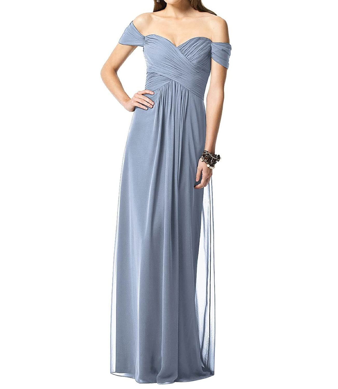 Leader of the Beauty Women Cap Sleeve Long Chiffon Bridesmaid Party Gown Powderblue UK 6