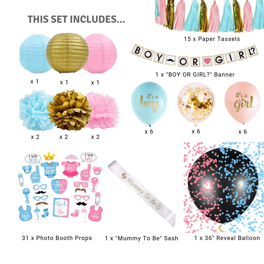 Gender Reveal Party Supplies (75 Pieces) with Photo Props, 36 Inch Reveal Balloon and Sash - Premium Baby Shower Decorations Set - Confetti Balloons, Boy or Girl Banner, Paper Lanterns and Pom Poms by FutureSquared (Image #5)