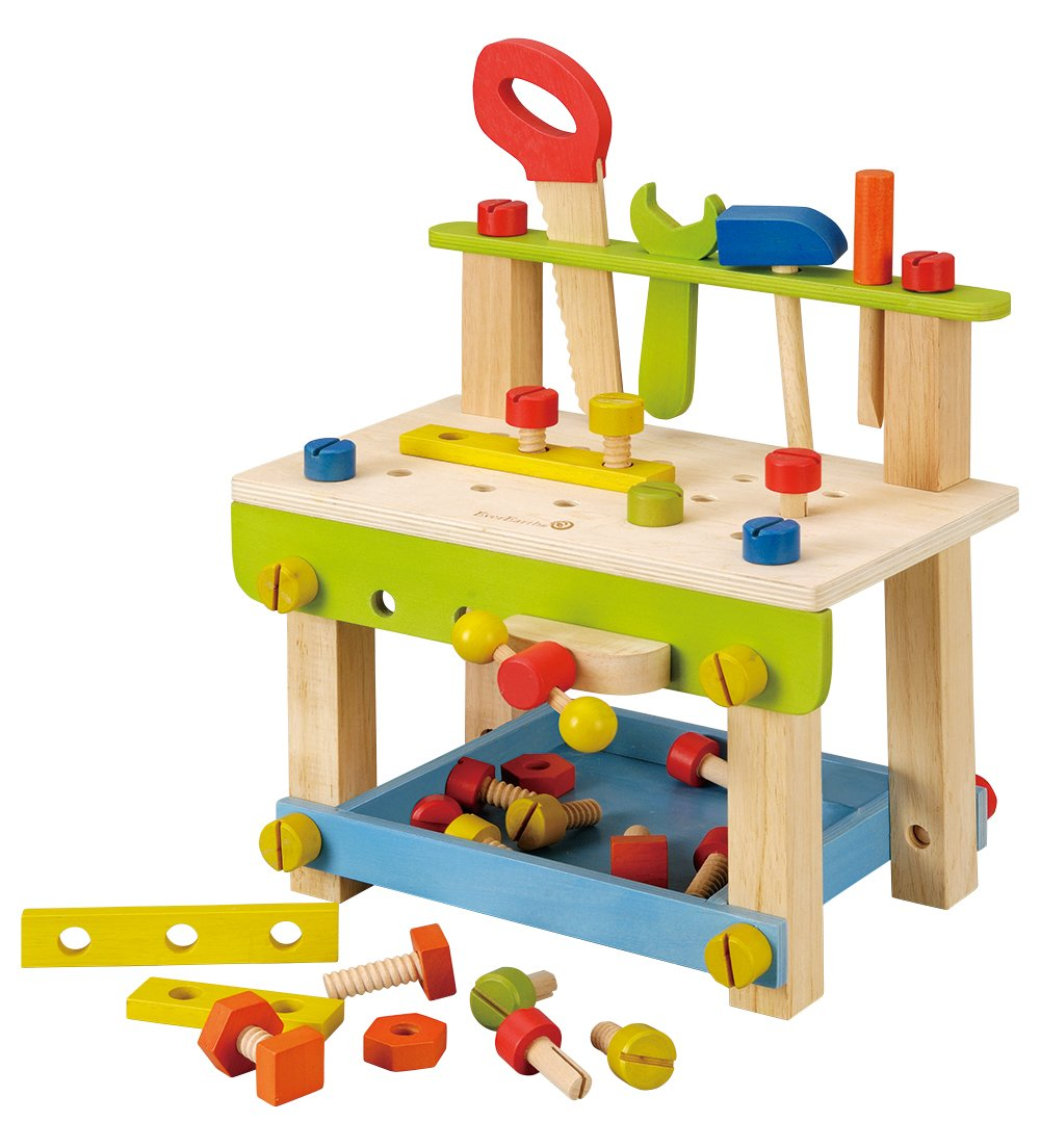 EverEarth Toddler Workbench with Tools. Wooden Building Set Hammer Toy Maxim EE32688