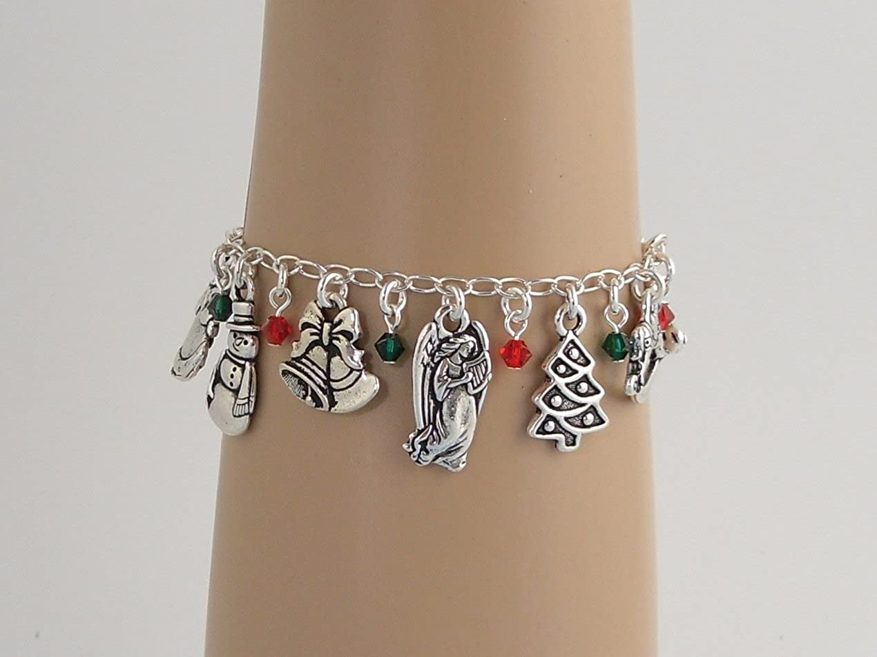 Night Owl Jewelry Christmas Charm Bracelet- Silver Plated Charms Sizes S to XL Red /& Green Crystals Sterling Silver Chain
