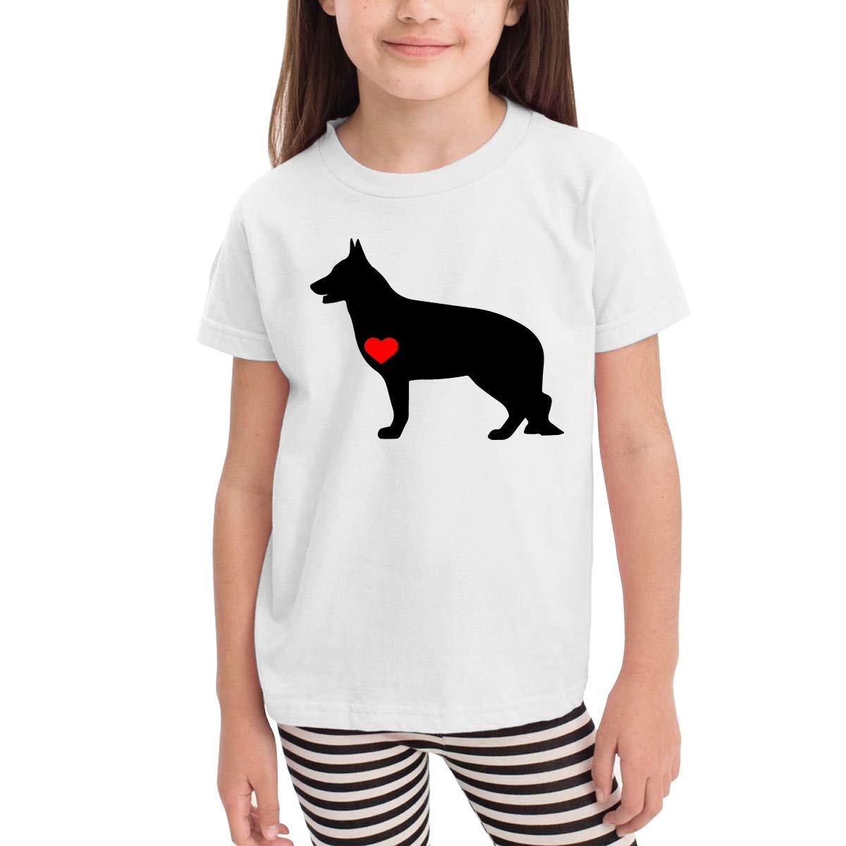 CERTONGCXTS Little Boys German Shepherd with Heart Cute Short Sleeve Tee Shirt Size 2-6