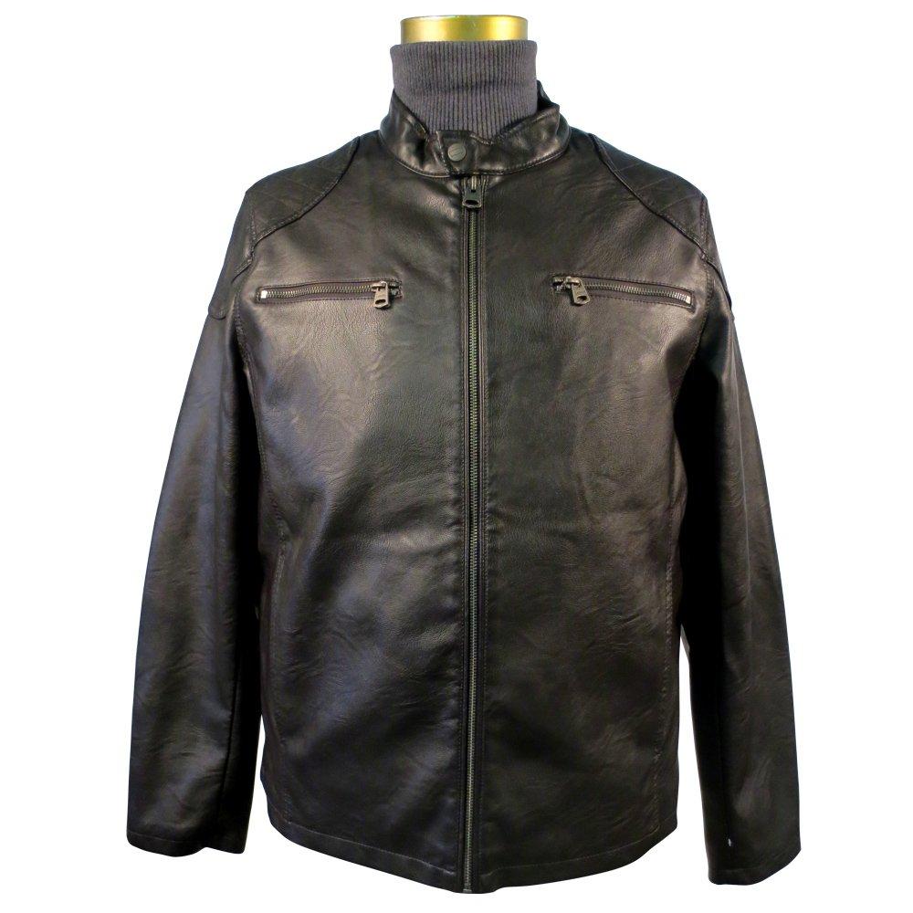 Levi's Men's Faux Leather Racer Jacket with 2 Zipper Chest Pockets LM7CU605
