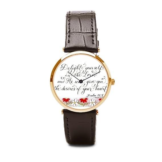puppya comprar versículo de la Biblia reloj de pulsera baratos de la pulsera Delight yourself en el Señor marrón/dorado: Amazon.es: Relojes