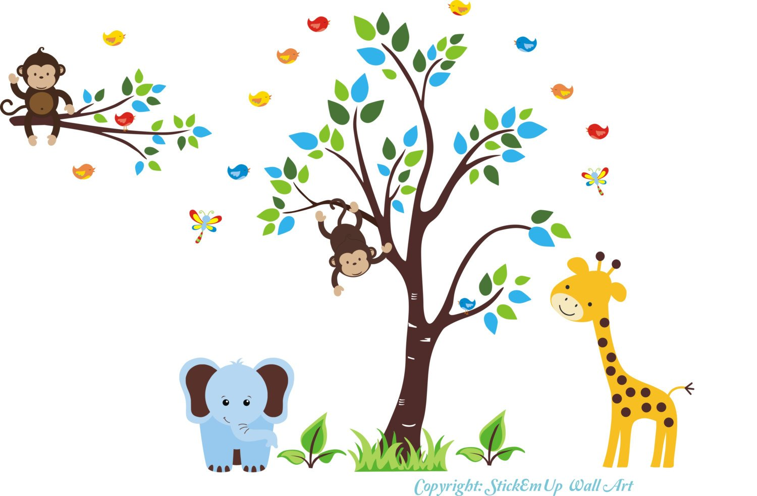 Baby Nursery Wall Decals Safari Jungle Children's Themed 100'' X 117'' (Inches) Animals Wildlife: Repositionable Removable Reusable Wall Art: Better than vinyl wall decals: Superior Material