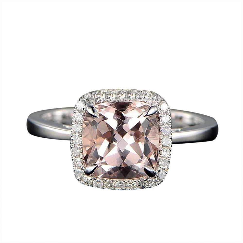 Wedding Ring On Sale.Limited Time Sale 1 25 Carat Cushion Cut Peach Pink Morganite And