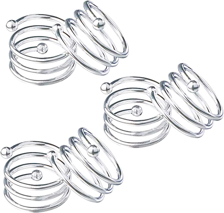 Spiral-Silver Napkin Ring 12 Pcs Metal Napkin Holder for Wedding Party Dinner Table Decoration