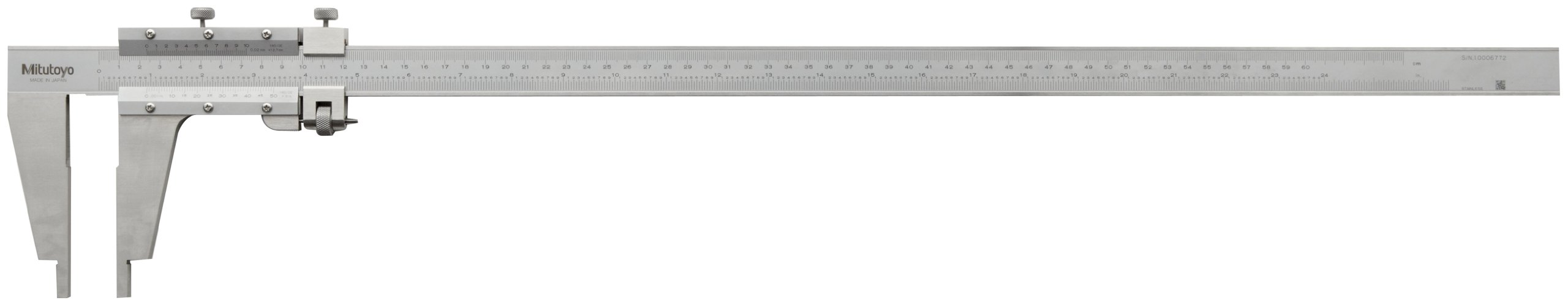 Mitutoyo 160-103 Vernier Caliper, Stainless Steel, Nib Style Jaw, 0-24'' Range, +/-0.002'' Accuracy, 0.001'' Resolution