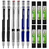 Coopay 6 Pieces Mechanical Pencils 2.0 mm 2B with 6 Case Lead Refills for Draft Drawing, Carpenter, Crafting, Art Sketching (Blue, Silver and Black)