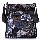 STUOYE Multi-Pocket Nylon Crossbody Purse Bag for Women Black Five Valve Flower