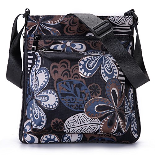 (STUOYE Multi-Pocket Nylon Crossbody Purse Bag for Women Black Five Valve Flower)