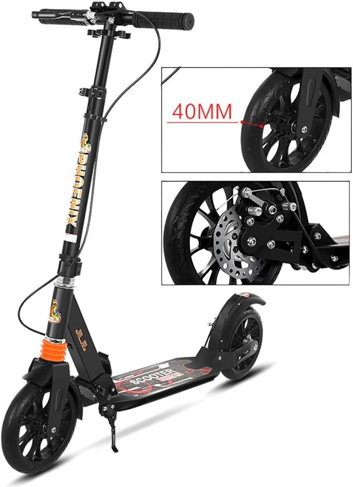 大人用 キックボード ブラックアダルトキックスクーター、調節可能な高さ2ビッグホイールデュアルサスペンションリアフェンダーブレーキ、220ポンド体重容量、非電気