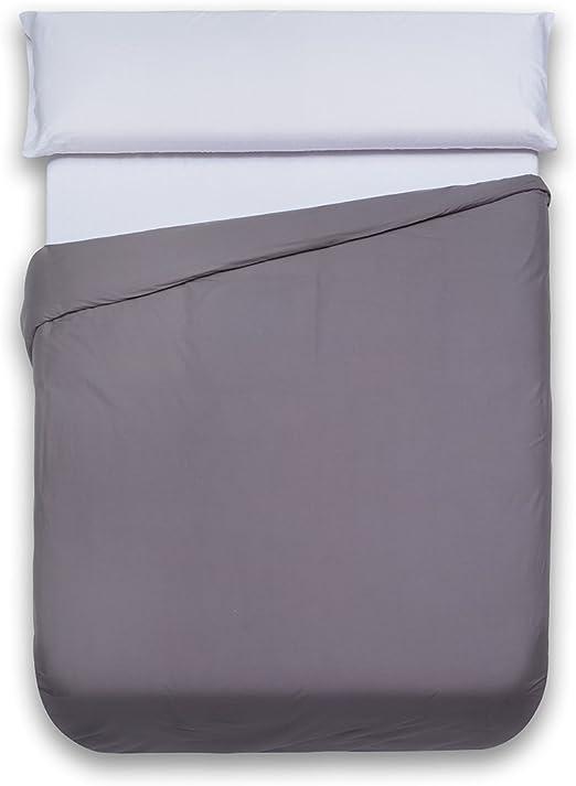 Sancarlos - Funda nórdica lisa, 100% Algodón, Color gris, Cama de ...