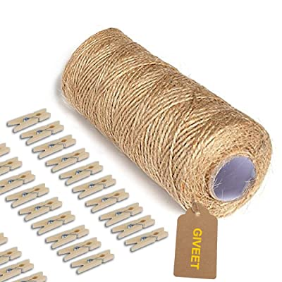 Giveet 328 Feet Natural Jute Twine and 100 Pieces Mini Clothespins, Multi-Purpose Arts Crafts Twine Industrial Heavy Duty Packing String for Gifts, DIY Crafts, Festive and Gardening Applications: Home Improvement