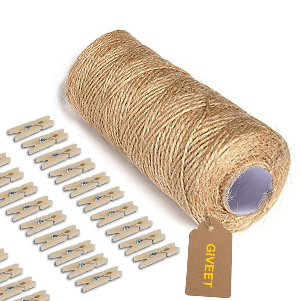 Giveet 328 Feet Natural Jute Twine and 100 Pieces Mini Clothespins, Multi-Purpose Arts Crafts Twine Industrial Heavy Duty Packing String for Gifts, DIY Crafts, Festive and Gardening Applications