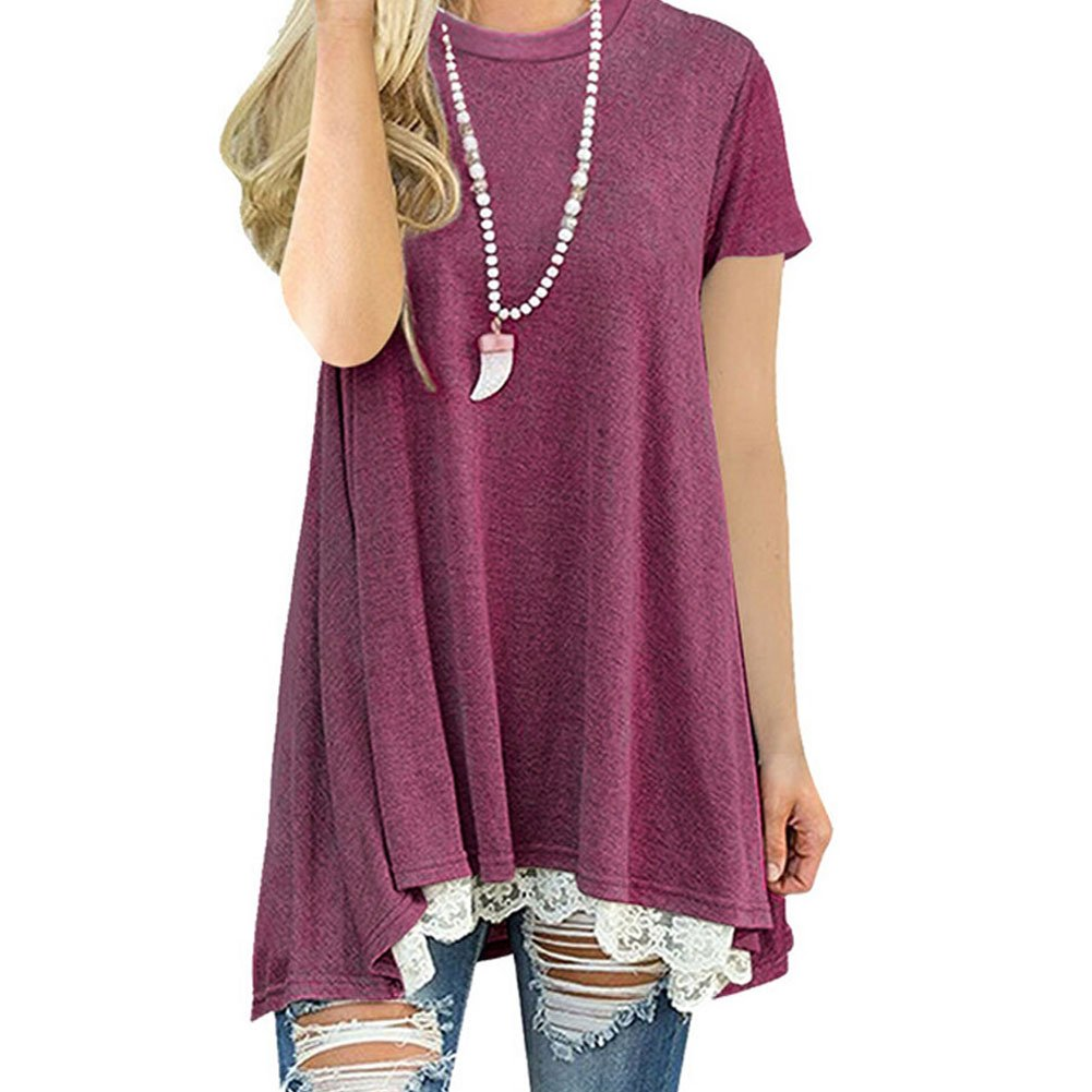 WANGSCANIS Women's Tops Short Sleeve Lace Scoop Neck A-Line Tunic Blouse (Tag XL - US 10-12, Wine Red)
