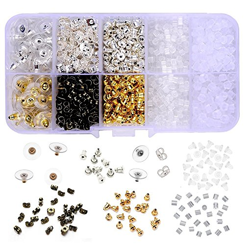 (Supla 10 Styles Earring Back Clips Bullet Shape Earring Backs Butterfly Metal Rubber Plastic Secure Earring Backs for Safety, 1040 Pieces)