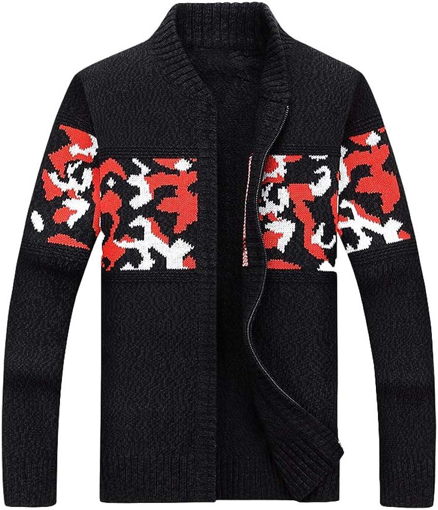 Mordenmiss Mens Long Sleeve Jacquard Cardigan Cotton Zip Jacket Slim Fit Blazer Sweater Outwear