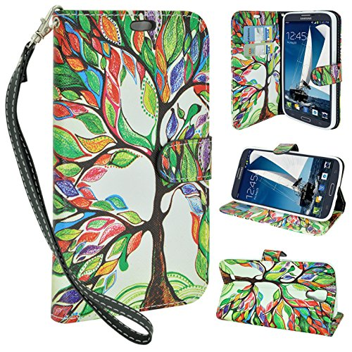 Customerfirst - Note 2 Case, Wallet Pu Leather Carrying Case Cover with Credit Id Card Slots Flip Leather Case for Samsung Galaxy Note 2 N7100 Case - With Key Chain (Dreamy Tree) - Note 2 Leather Wallet
