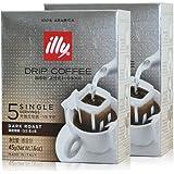 illy意利进口 深度烘焙意式浓缩 挂耳滤泡式现磨纯黑咖啡粉 2盒装