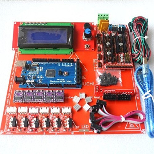 KINWAT Reprap Ramps 1.4 Kit with Mega 2560 r3 + Heatbed mk2b + 2004 LCD Controller + DRV8825 + Endstop + Cables for 3D Printer by KINWAT