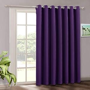 RYB HOME Blackout Patio Sliding Glass Door Curtains, Summer Heat Insulated Drape for Light Block Energy Saving, Bedroom Window Decor Living Room Foyer Backdrop Panel, 100 x 84 inches Long, Purple