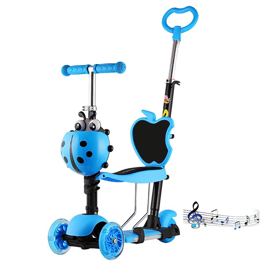 Zhijie-chezi Multifunktions-3-in-1-Scooter für Kinder 3-Rad-Blinkrad mit Musik-Roller-Trolley für Kinder von 1-8 Jahren (Farbe : Blau)