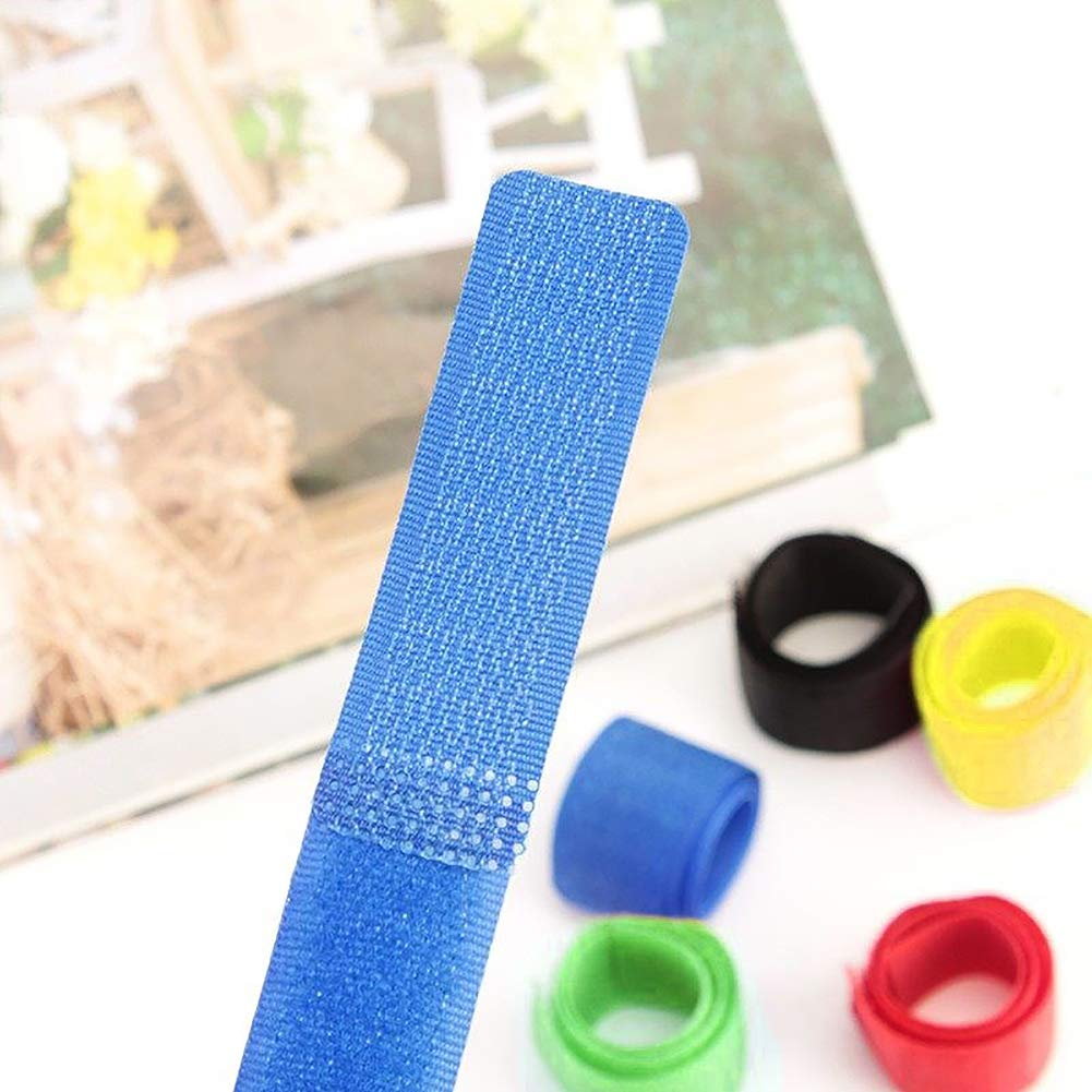 Multicolor Attmu AA204 50 PCS Reusable Fastening Cable Ties Microfiber Cloth 6-Inch Hook and Loop Cord Ties