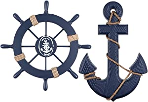 "MDLUU Wooden Ship Wheel, Wood Anchor Decor, 11"" Ship Rudder Decor, 13"" Anchor Wall Hanging Ornament for Mediterranean Nautical Room, Party Decor, Pack of 2 (Navy Blue)"
