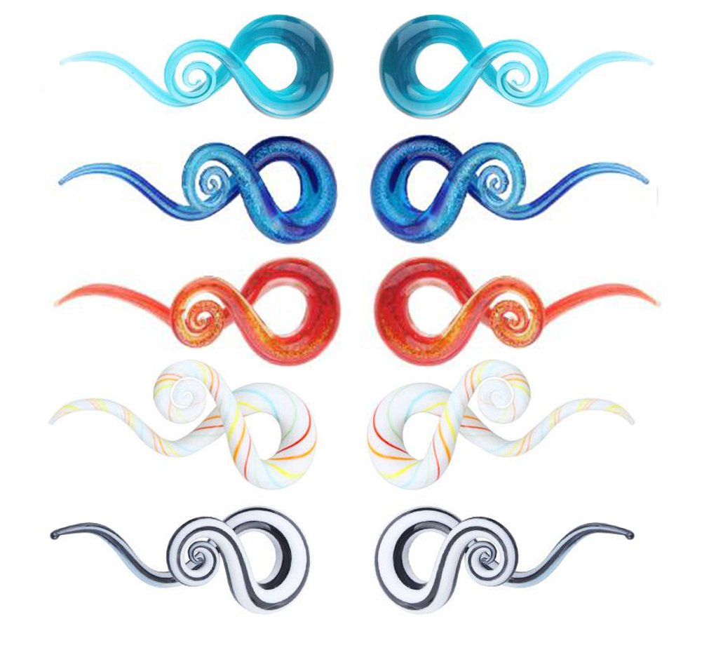 5 Pairs Glass Ear Spiral Taper Piercing Set Gauges Multi-Color Ear Plug Hangers Expander (8mm=0G)