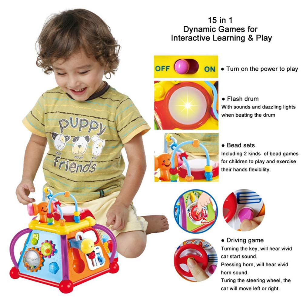 Yiosion Musical Activity Cube Play Center Educational Learning Toy with Music and Sounds for 1 2 3 Year Old Baby Toddler Girls Boys by Yiosion (Image #4)