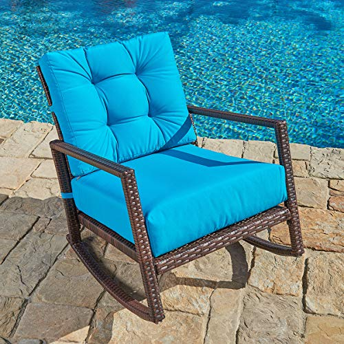 (SUNCROWN Outdoor Furniture Teal Patio Rocking Chair | All-Weather Wicker Seat with Thick, Washable Cushions | Backyard, Pool, Porch | Smooth Gliding Rocker with Improved Stability)