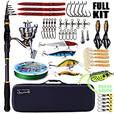 Sougayilang Fishing Rod and Reel Combos - Telescopic Fishing Pole with Fishing Reel Box Line Lures Hooks Accessories Fishing Carrier Bag