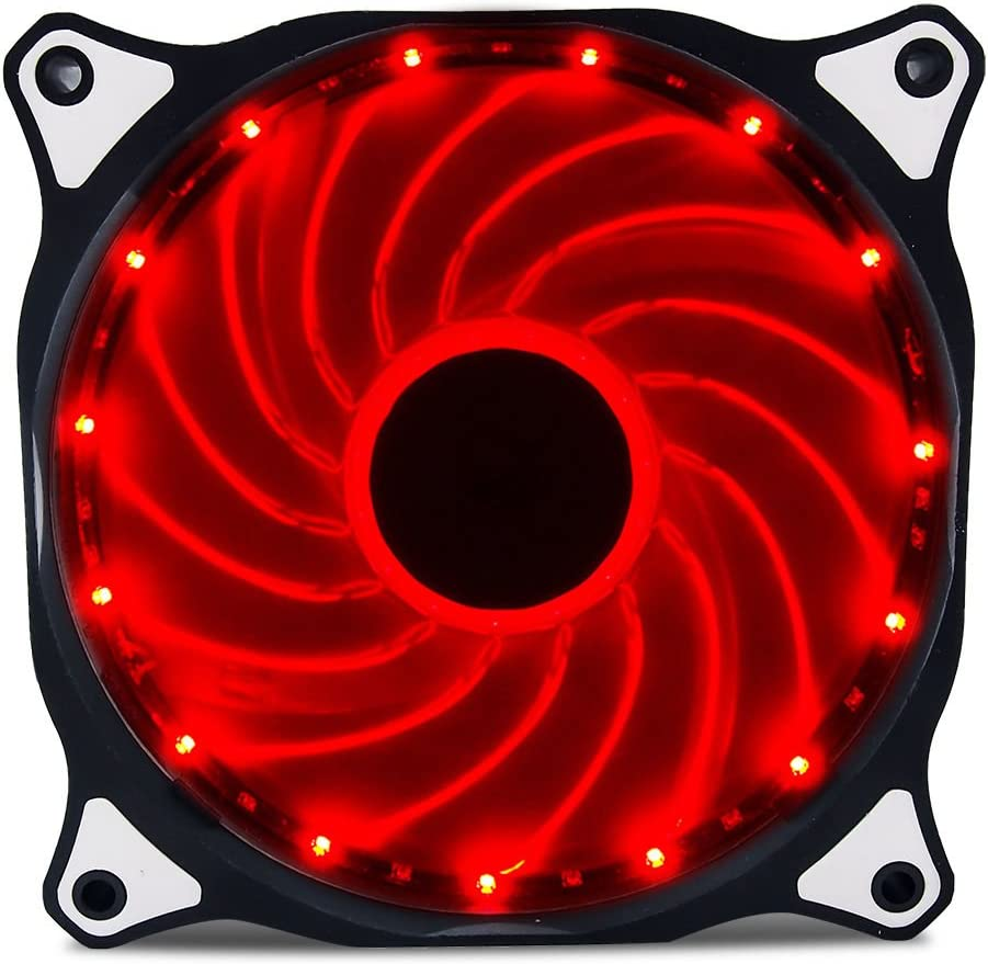 Vetroo 120mm Red 15-LEDs Cooling Fan for Computer PC Cases, CPU Coolers and Radiators