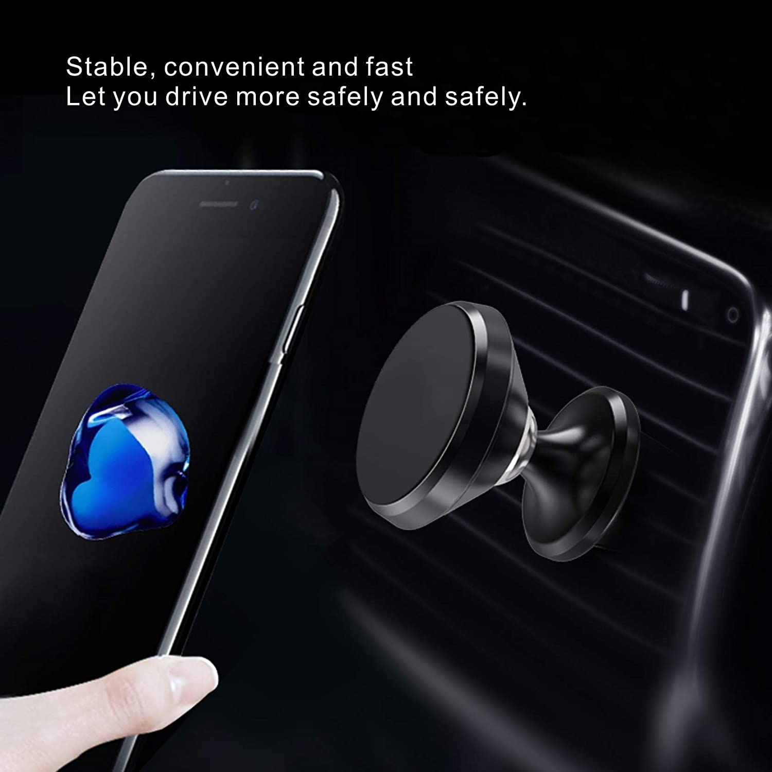 Universal Car Phone Mount Magnet Air Vent Mount 360/°c Car Phone Holder Fit car Phone Mount for iPhone 11 pro xs max xr x 8 7 6 Plus Samsung Galaxy note10 s10 s10 s10e s9 LG Huawei All Phones