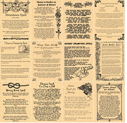 set-of-12-spells-for-money-wealth-book-of-shadows-spell-pages-wicca-witchcraft-pagan-gold