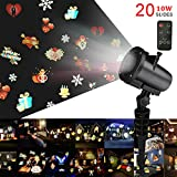 Party Projector lights, LED Projector Lamp, Waterproof Landscape Lights, 20 Patterns Outdoor/ Indoor Rotating Light Projector Spotlight for Valentine's Day, Party, Wedding Holida