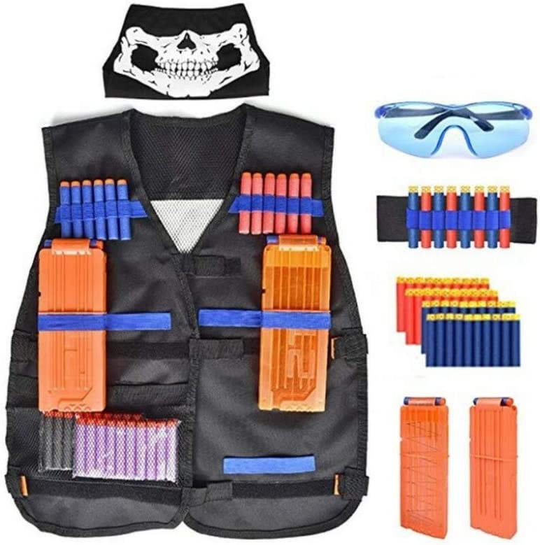 YANODA Chalecos Tácticos Niños Niños Juego Táctico Al Aire Libre Chaleco Táctico Holder Kit Juego Pistolas Juguetes para Elite Series Balas Regalos Juguete