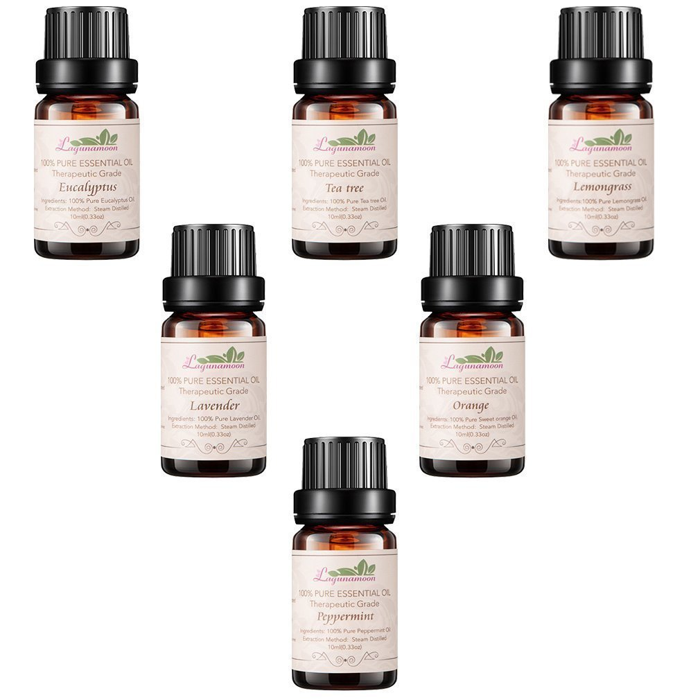 Aromatherapy Essential Oils Gift Set, Top 6 100% Pure Premium Therapeutic Grade Oils -Lavender, Tea Tree, Eucalyptus, Lemongrass, Orange, Peppermint Essential Oils