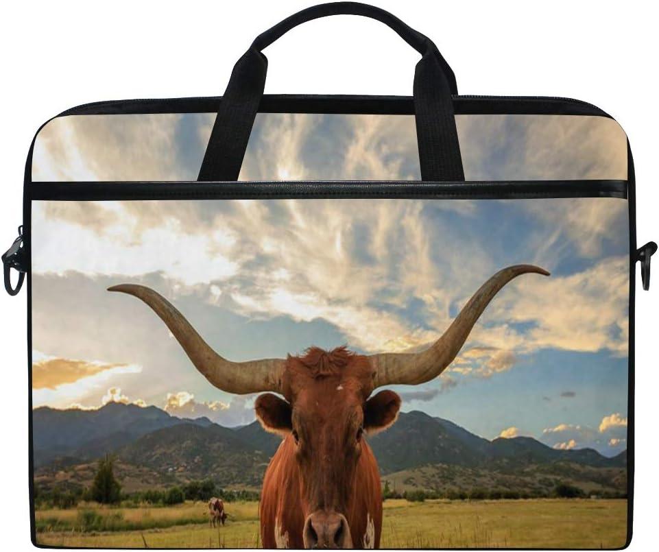 "SLHFPX Laptop Bag Texas Longhorn Steer 14"" 15"" Laptop Case Notebook Briefcase Tablet Handbag Sleeve Computer Backpack with Shoulder Strap Handle for Men Women Travel Business School"
