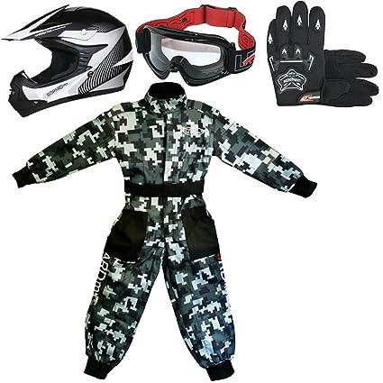 Leopard LEO-X19 Blanco Casco de Motocross para Niños (XL 55cm) + Gafas + Guantes (XL 8cm) + Camo Traje de Motocross para Niños - S (5-6 Años)
