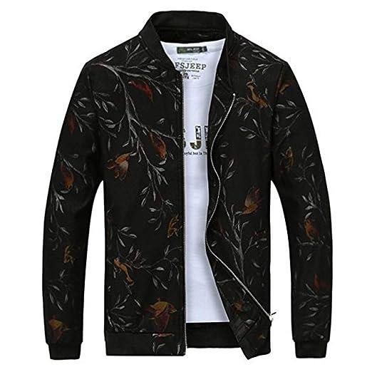 Cappotto da Uomo Stampato Manica Lunga Cerniera Ragazzo Stand Fantasia con  Collar Capispalla Cappotto Capispalla  Amazon.it  Abbigliamento 83f1ef6ee03